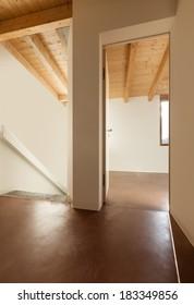 Architecture, empty loft, interior, view from passage