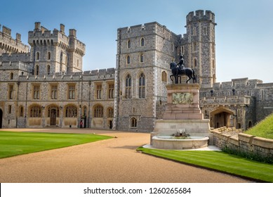 Architecture and exterior design of the oldest and largest inhabited castle in the world. Its is also the residence of the Queen at Windsor, UK