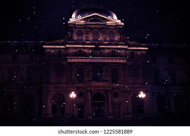 Architecture of France. Abstract dark background with architecture. Night view, neon.