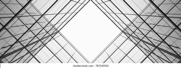 architecture of geometry at glass window - monochrome