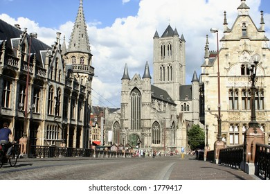 Architecture in Ghent, Belgium with St. Nicholas' church in the background
