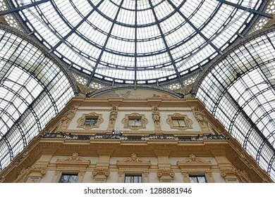 Architecture of the glass roof and walls of the Galleria Vittorio Emanuele, a popular retail shopping center in Milan