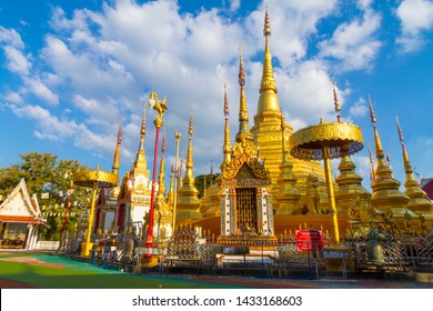 Architecture gold and cloud beautiful with blue sky at Wat Phra Bat Ban Tak, Tak Province, of Thailand