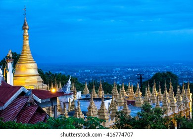architecture of golden pagoda with blue sky evening on mandalay hill,myanmar