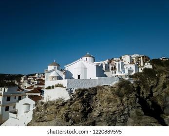 Architecture of the Greek Islands in the Aegean Sea - Sunrise at Island of Skopelos/Scopelos , Sporades