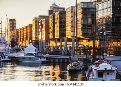 Architecture of Hamburg at sunset. Hamburg, Germany.