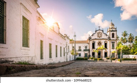 The architecture of the historic Brazilian city of Olinda in the state of Pernambuco, Brazil with its cobblestone streets and Baroque style buildings at sunrise.