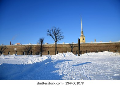 Architecture of historic city center of Saint Petersburg, Russia. Peter and Pauls cathedral in Peter and Pauls fortress. Popular landmark.