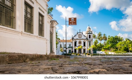 The architecture of the historic city of Olinda in Pernambuco, Brazil showcasing its cobble stone streets and 17th century churches built in Baroque style.
