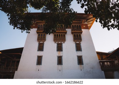 The architecture inside of Punakha Dzong with leaves boder. Punakha Dzong was the administrative centre and the seat of the Government of Bhutan until 1955.