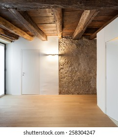 Architecture, interior of a loft, empty room with doors