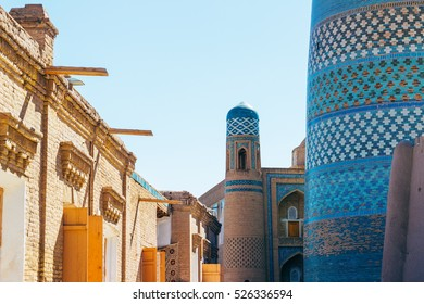 The architecture of Itchan Kala, the walled inner town of the city of Khiva, Uzbekistan. UNESCO World Heritage
