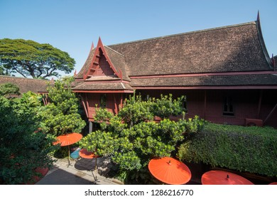 the architecture of Jim Thompson House at Siam Square in the city of Bangkok in Thailand in Southeastasia.  Thailand, Bangkok, November, 2018