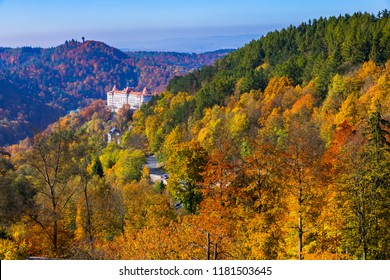 Architecture of Karlovy Vary (Karlsbad) in autumn, Czech Republic. It is the most visited spa town in the Czech Republic