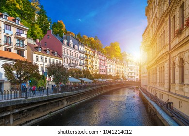 Architecture of Karlovy Vary (Karlsbad), Czech Republic. It is the most visited spa town in the Czech Republic