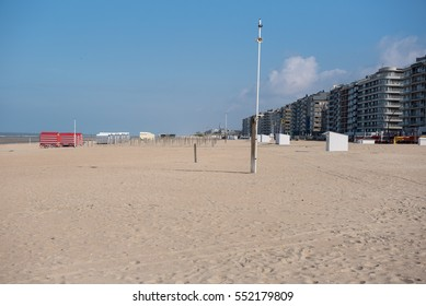 Architecture in Koksijde from the beach of the North Sea