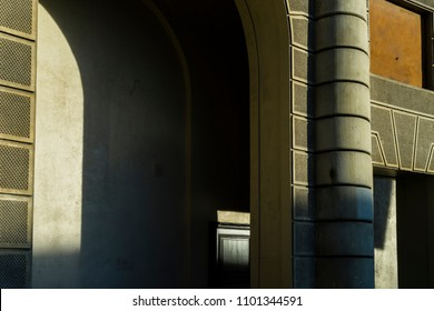 Architecture and light/Play of light and shadow on the exterior walls of the Royal Palace in Stockholm.