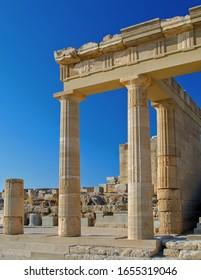 Architecture at Lindos Acropolis, Rhodes
