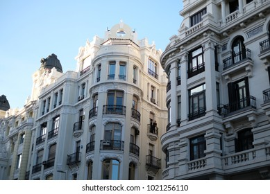 Architecture of living houses of Madrid, Spain, facade of the houses