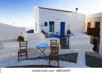 Architecture in the main square of Nikia village on Nisyros island in Dodecanese island group, Greece.