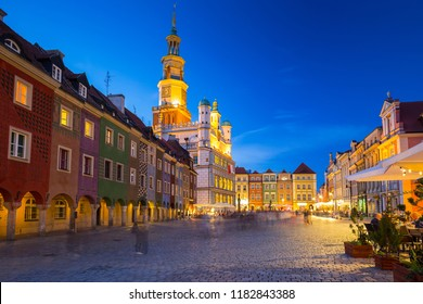 Architecture of the Main Square in Poznan at night, Poland.