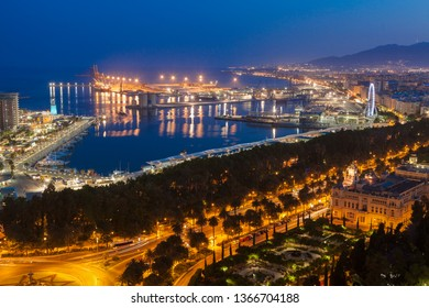 Architecture of Malaga seen at night. Malaga, Andalusia, Spain.