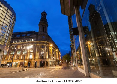 Architecture of Manchester at night. Manchester, North West England, United Kingdom.