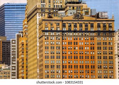 Architecture of Manhattan buildings. New York, USA