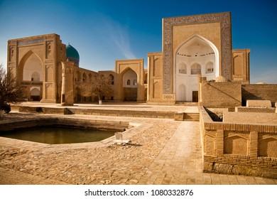 Architecture of medieval buildings of Madrasah. Bukhara, Uzbekistan, Central Asia.