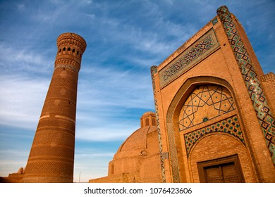 Architecture of medieval buildings of Madrasah at evening. Bukhara, Uzbekistan, Central Asia.
