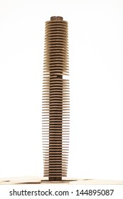 Architecture model of an skyscraper in wood isolated. Several levels stories.