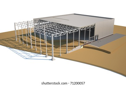 Architecture model warehouse showing building structure