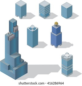 Architecture modern business buildings icon set flat 3d isometric web illustration Business center mall public government and skyscrapers