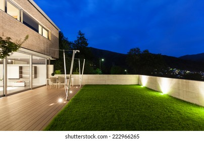Architecture modern design, beautiful house, night scene