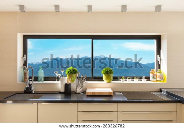architecture, modern house, beautiful interiors, detail kitchen