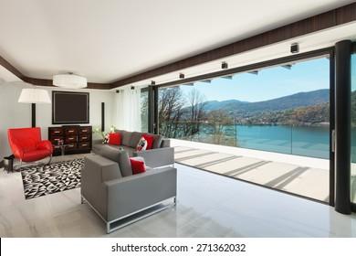 architecture, modern house, beautiful veranda overlooking the lake, interior