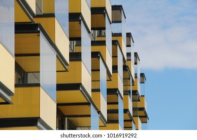 architecture modern yellow building balcons