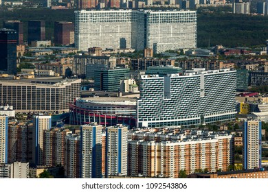 Architecture of the Moscow city from a height