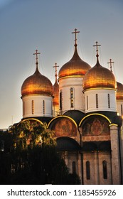 Architecture of Moscow Kremlin. Dormition church.