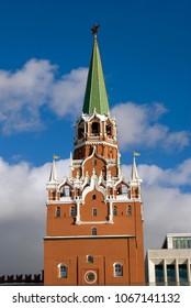Architecture of Moscow Kremlin. Popular landmark, UNESCO World Heritage Site. Color photo.