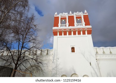 Architecture of Novodevichy convent in Moscow. Color winer photo.
