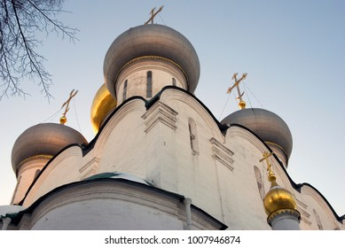 Architecture of Novodevichy convent in Moscow. Popular touristic lanmdark. UNESCO World Heritage Site. Color photo.