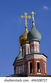 Architecture of Novodevichy convent in Moscow. Popular landmark.