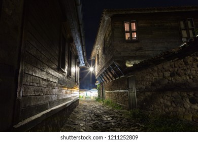 Architecture of the old city of Nesebar (Nessebar) at night. Streets and color of the city at night. Nesebar. Bulgaria. 05 august 2018