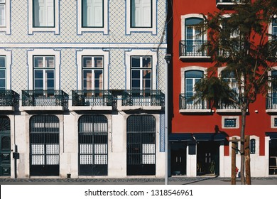 Architecture in the Old Town of Lisbon, Portugal. Lisbon Buildings Facade With Typical Portuguese Tiles on the Wall