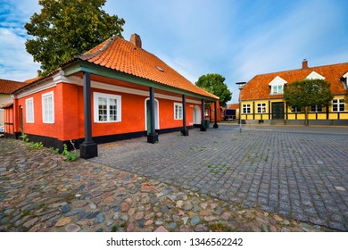 Architecture of the Old Town of Ronne, historic guardhouse and prison called Hovedvagten, Bornholm, Denmark