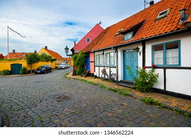 Architecture of the Old Town of Ronne, typical colorful half timbered houses, Bornholm, Denmark