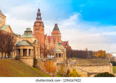 Architecture of Old Town in Szczecin (Stettin), view of Haken Terrace, Poland