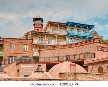 Architecture of the Old Town of Tbilisi, Georgia, in Abanotubani area - Tbilisi, Georgia