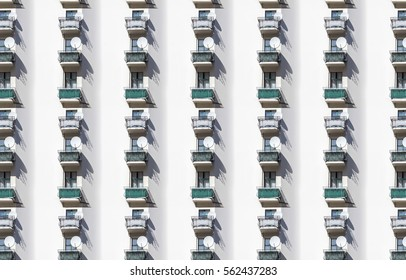 architecture pattern, balcony with satellite dish